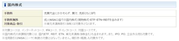 SBI証券NISA手数料ページ