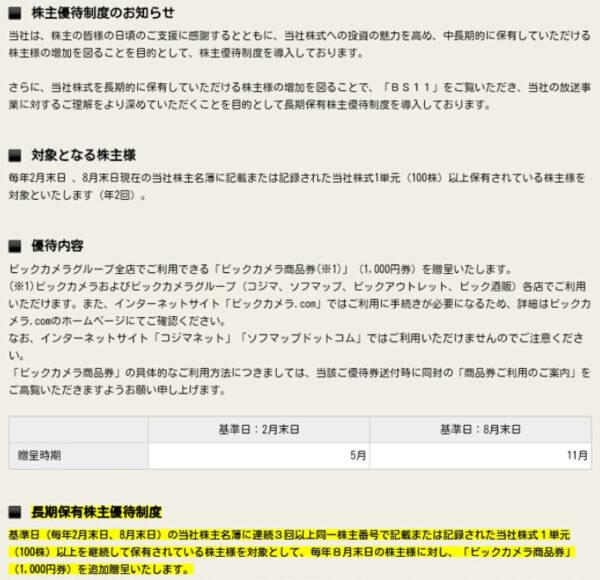 日本BS放送優待内容